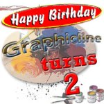 Graphicline turns 2 banner