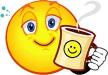 smiley with coffee