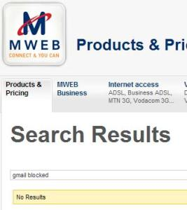 MWEB search result for gmail blocked