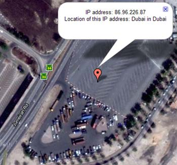 Satellite image of hacker in dubai location
