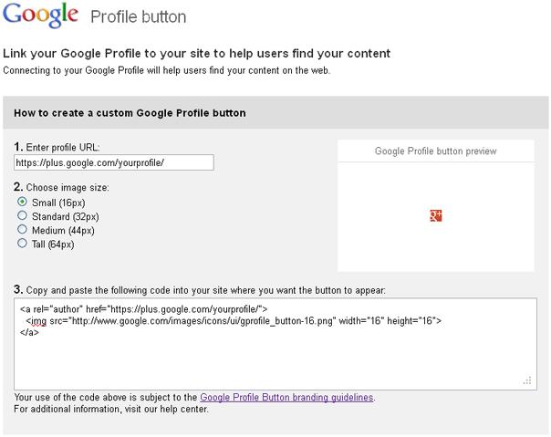 Google Profile Button Generator