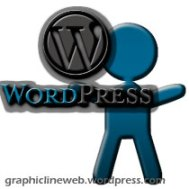 wordpress logo and figure icon