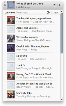 image of iTunes 11 up next panel